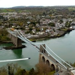 A Longstaff Media drone caught this aerial shot of a boat past under the Menai Bridge, North Wales.