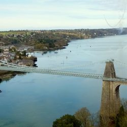 An aerial shot of the Menai Bridge by Longstaff Media