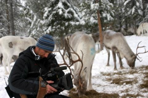 Filming at Swedens Ice Hotel - following the Reindeer